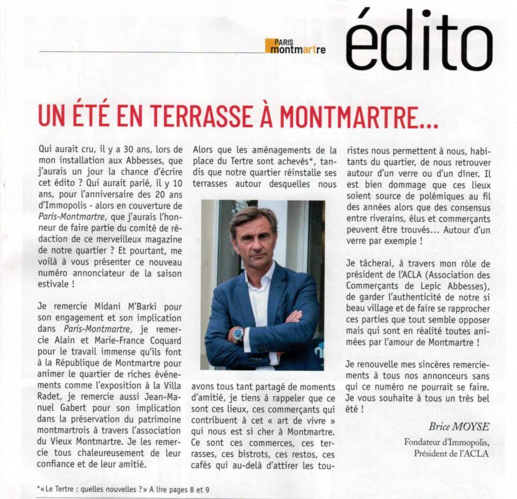 Edito du magazine Paris Montmartre