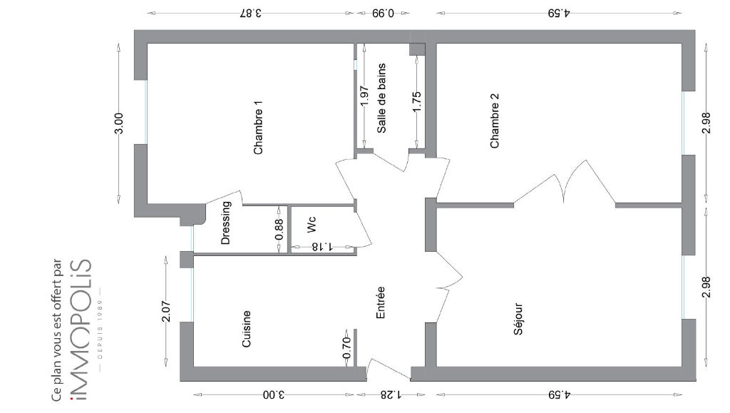 Exclusivity: beautiful 3 room apartment with a perfect plan, clear and calm, of 55.21 M² with little opposite! 6