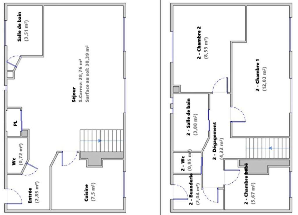 DUPLEX  4 pièce(s) 82 m2 15