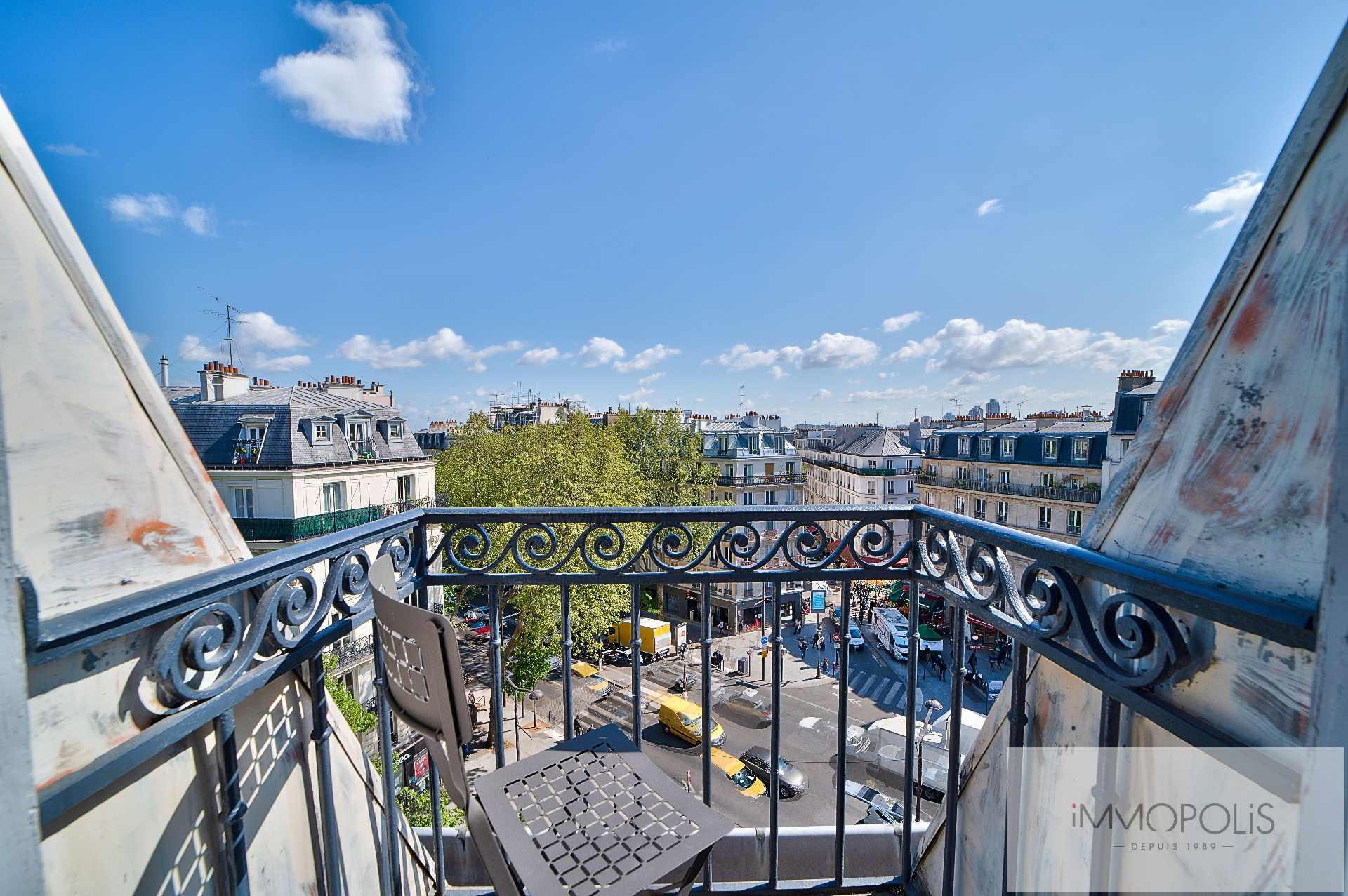 Magnifique 2 pièces en 6e et dernier étage sans vis à vis, plein soleil, avec 2 balconnets ! 1